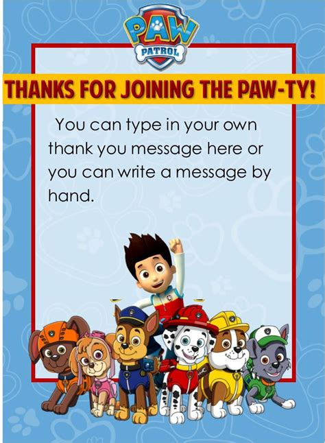 paw patrol thank you card template paw patrol thank you notes editable partygamesplus