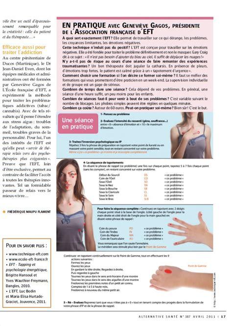 Sante Magazine Juillet 2012 Antistress Eft Techniques De Libert 233 233 Motionnelle eft dans alternative sant 233 avril 2011