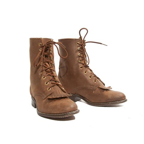 roper boots vintage brown laredo lace up roper boots with by nashdrygoods