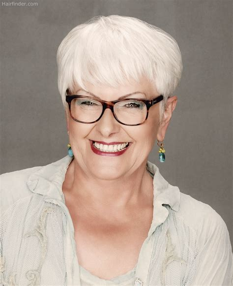 haircuts for white hair short haircut for older women with white hair who wear glasses