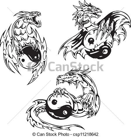 eps vector of dragon tattoos with yin yang signs set of