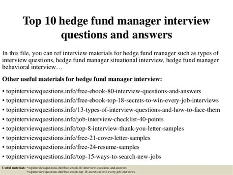 top 10 hedge fund manager questions and answers