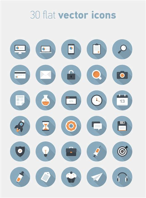 30 flat circular vector icons icons fribly