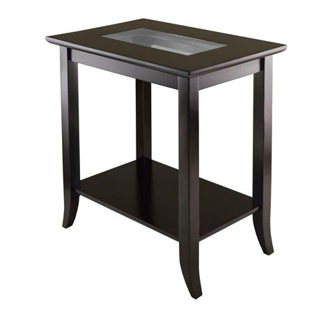 accent table with shelves amazon com winsome genoa rectangular end table with glass