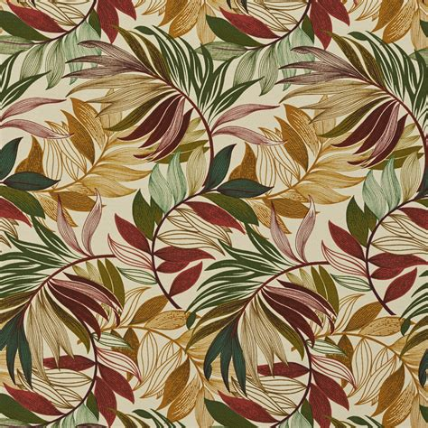 tropical upholstery burgundy green and coral tropical beach oasis leaf themed