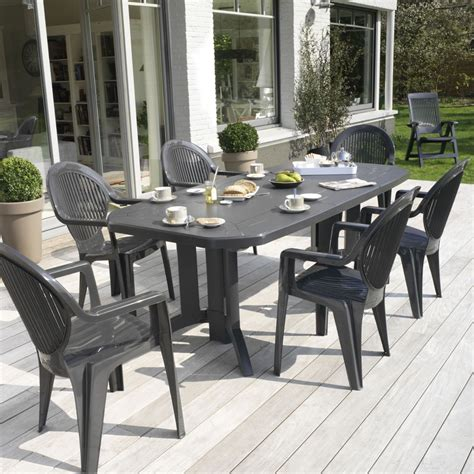table de jardin ovale design grosfillex 220x100x72