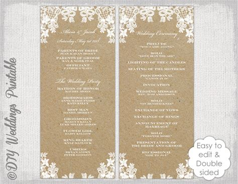 Rustic Wedding Program Template Rustic Lace Diy Free Rustic Wedding Program Templates