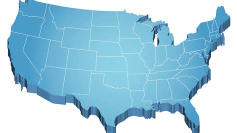 united states map showing and blue states usa map 3d