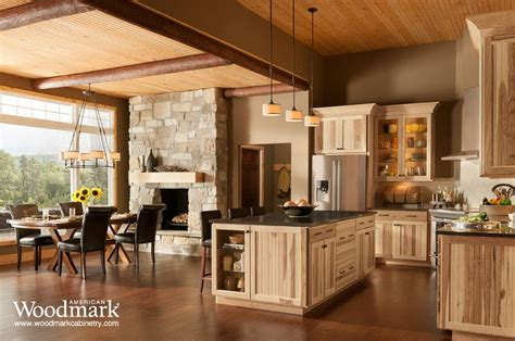 rustic looking cabinets shorebrook hickory kitchen home depot i didn t think a cherry color floor wood look so