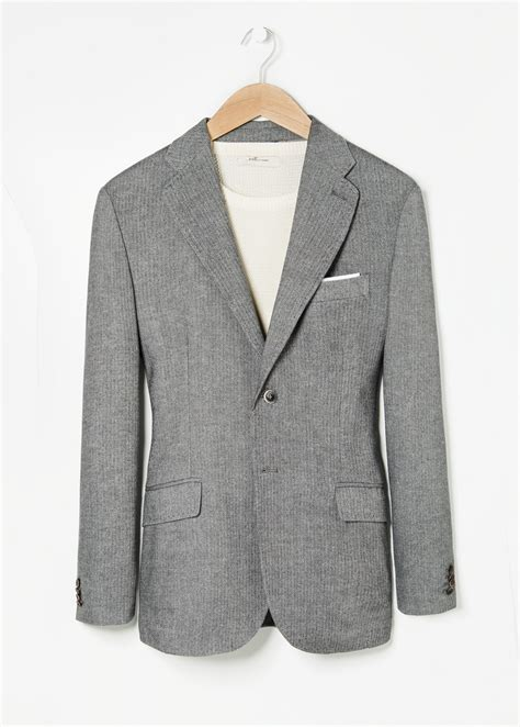 grey blazer mango herringbone wool blend blazer in gray for men