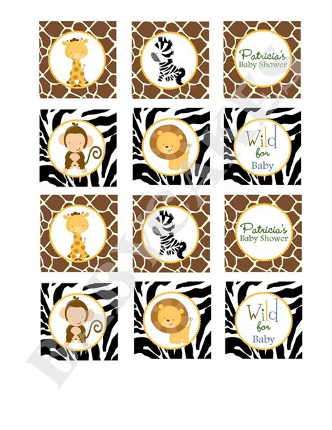 printable stickers of animals safari jungle animals cupcake toppers baby shower stickers