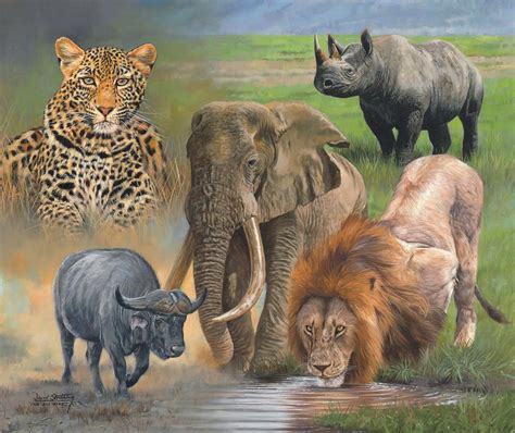Big Picture Post Nation 5 by Africa S Big Five Painting By David Stribbling