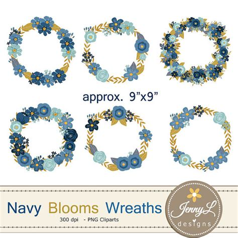 Navy Wedding Clipart by Navy Blue Flower Wreath Clipart Wedding Flowers Navy Blue