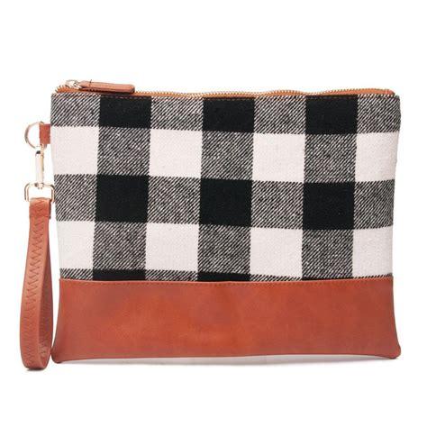 buffalo plaid cosemtic bag wholesale blanks red check wristlet handbag tweed women