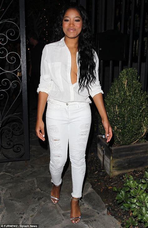 Keke Blouse keke palmer flashes hint of in unbuttoned white shirt