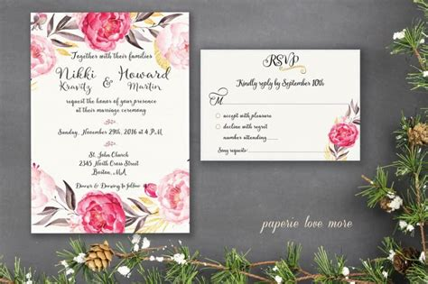 wedding invitation card suite with flower templates free boho invitation template free wedding invitation suite