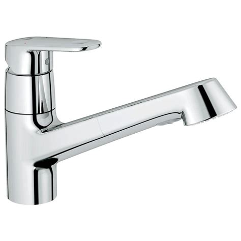grohe europlus new single handle pull out sprayer kitchen faucet in starlight chrome 32946002