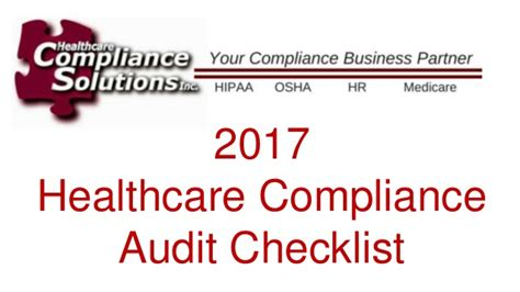 Mba Compliance Conference 2017 by Healthcare Compliance Audit Checklist In 2017