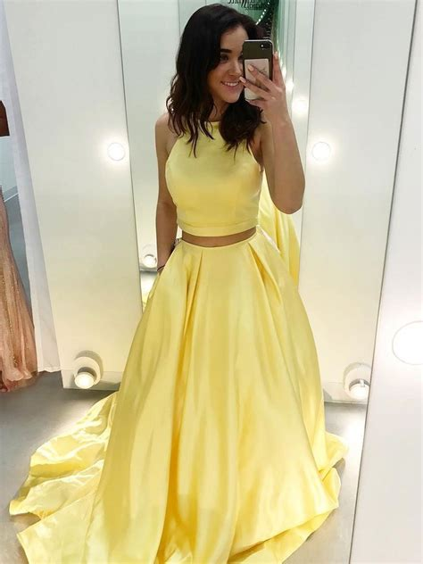 cheap  piece prom dresses yellow satin formal long prom