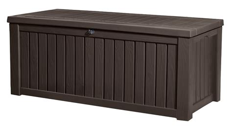 keter storage bench brown keter rockwood storage box dark brown wood effect 163 125