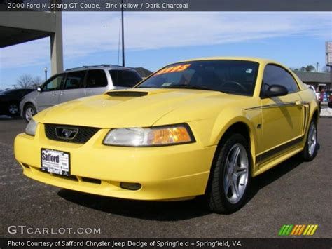 2000 mustang gt interior zinc yellow 2000 ford mustang gt coupe charcoal