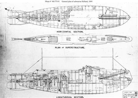 free blueprint usn ships uss holland submarine 1 plans models