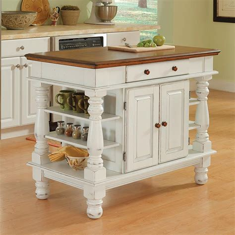 kitchen island white shop home styles 42 in l x 24 in w x 36 in h distressed antique white kitchen island at lowes