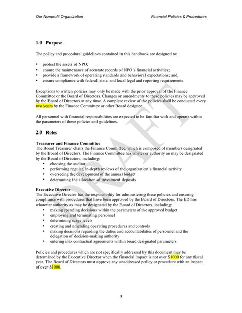 financial policies and procedures template nonprofit financial policies procedures template in word