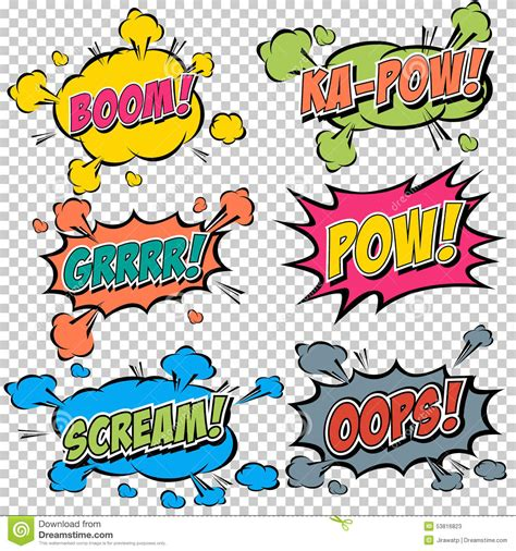 comic effects and serious themes in pride and prejudice collection multicolored comic sound effects stock vector