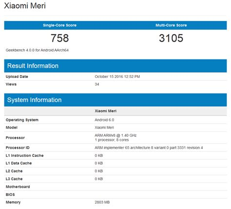 geek bench xiaomi meri is benchmarked on antutu and geekbench