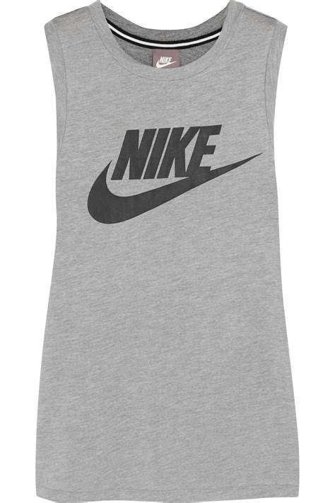 patterned stretch jersey lyst nike printed stretch jersey tank in gray