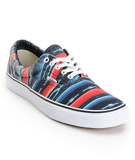 blue pattern vans vans era van doren multi stripe blue canvas skate shoes