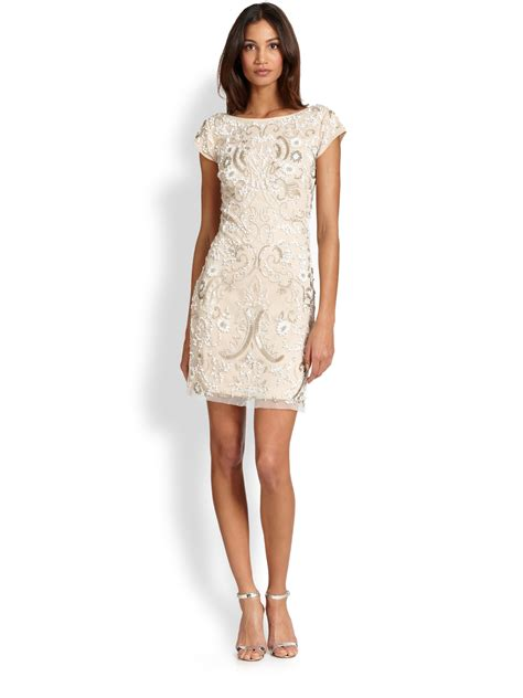 Beaded Sheath Dress lyst aidan mattox beaded cocktail sheath dress in