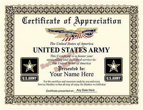 tag army certificate of appreciation other printing services printing personalization