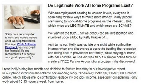 is work at home paycheck a scam as partners we can profit