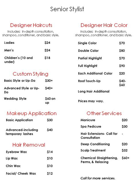 jcp hair salon price list jcpenney salon prices list official jcpenney hair salon