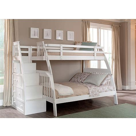 Bunk Beds With Stairs And Drawers Canwood Ridgeline Bunk Bed With Built In Stairs Drawers White Walmart