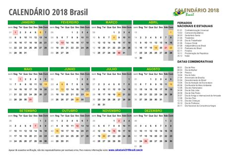 Calend Brasileiro 2018 Calend 193 2018 Para Imprimir Feriados