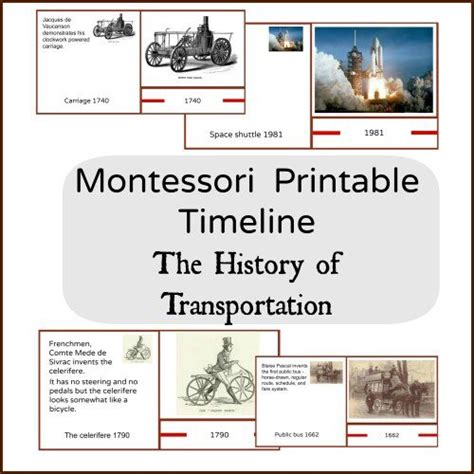 printable montessori timeline of life the history of transportation montessori timeline 3 part