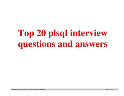sql tutorial questions and answers top plsql interview questions and answers job interview tips