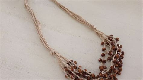 how to make crochet jewelry how to make a crochet necklace with wooden diy