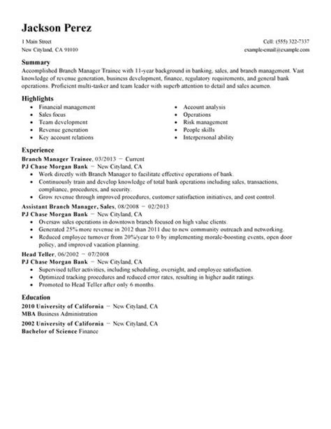 Resume Sle For Manager Trainee Resume Format Resume For Management Trainee Position