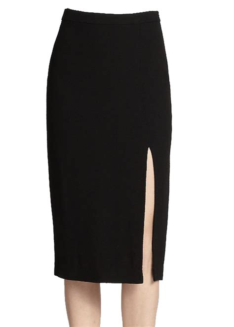 fully lined wool blend pencil skirt with side split