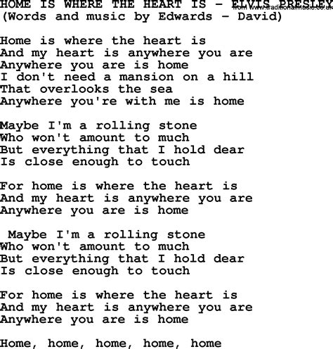 home is where the is by elvis lyrics