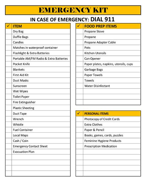 emergency response checklist template the lovebug