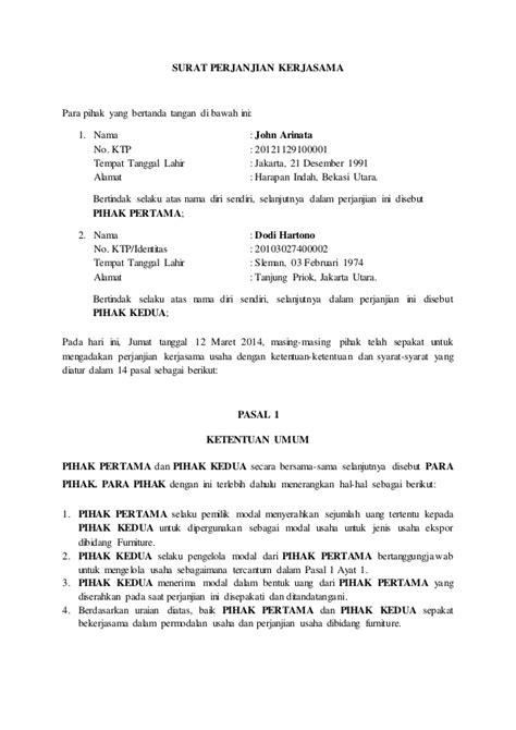 Surat Pengantar Kerjasama Sponsorship by Contoh Surat Perjanjian Kerjasama