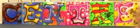 finished graffiti lettering completed   students