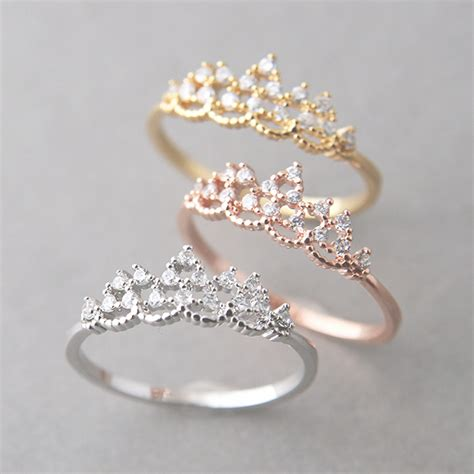 princess tiara ring white gold engagement tiara ring