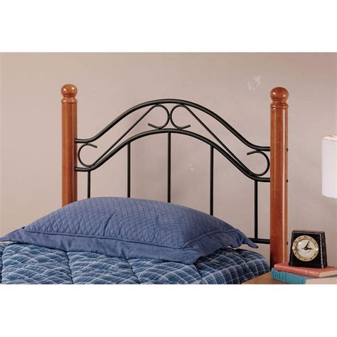 Winsloh Metal Oak Twin Headboard