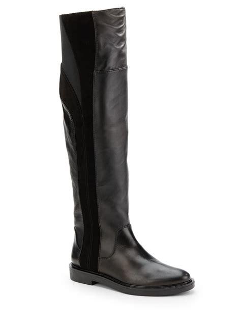 calvin klein boots calvin klein dax leather suede flat boots in black lyst